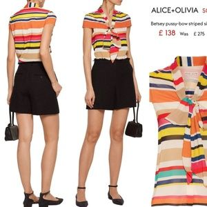 Alice + Olivia Multi Striped Tie Betsey Blouse